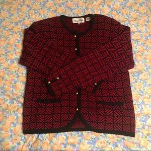 Vintage Red & Black Knit Cardigan